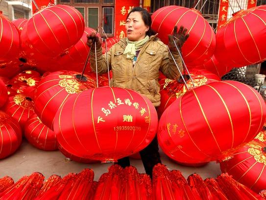 Red lanterns in Jishan, China