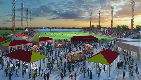 This is a rendering of Keyworth Stadium after the proposed renovations.