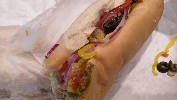 Tubby's Famous All American Sub Shop's tuna salad sub with everything.