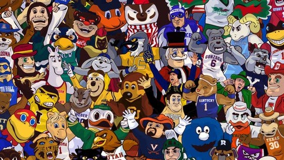 Where's Harbaugh? He's right behind Purdue Pete.