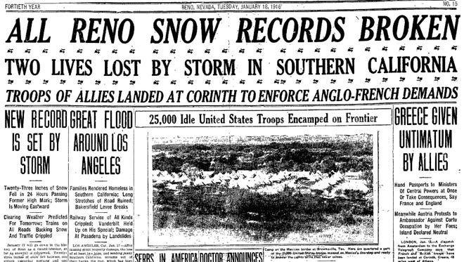 The Reno Evening Gazette of Jan. 17, 1916 reports on the biggest single-day storm in the city's history.