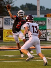 Burkburnett quarterback Westin Priddy (2) throws for