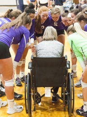 Lakeview head coach Heather Sawyer talks to her team during a timeout.