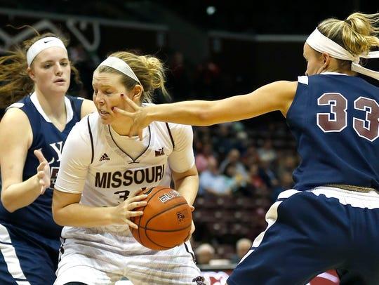 Missouri State junior Rachel Swartz takes a hand to