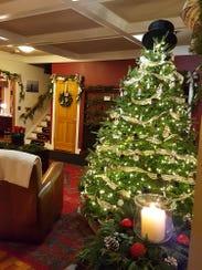 Elaborate Christmas trees featuring handmade ornaments