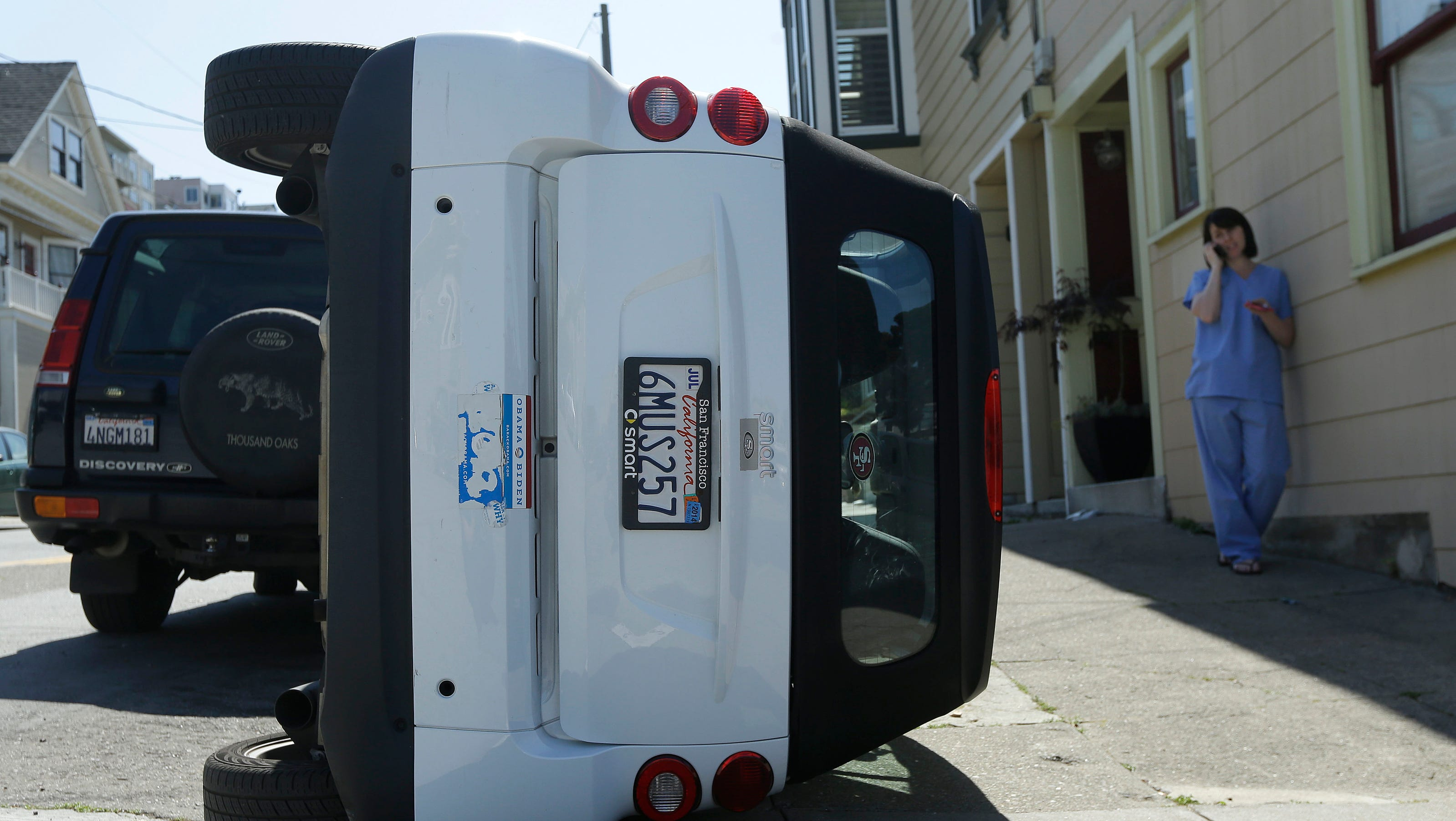 Urban Cow Tipping Vandals Turn Over Smart Cars In San