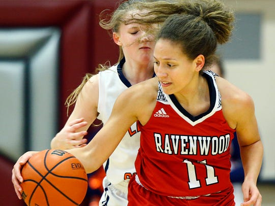 Ravenwood's Kiera Downey works the ball  against Dickson