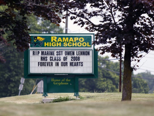 The message board outside Ramapo High School in Spring