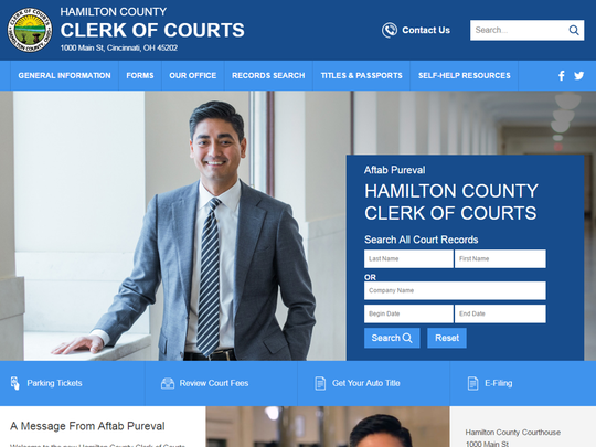A snapshot of the new Hamilton County Clerk of Courts website.