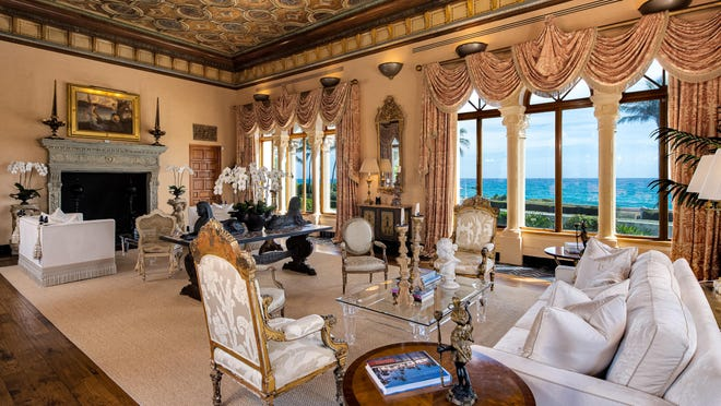The grand salon of El Solano, the former John Lennon estate on Palm Beach. The property, at 720 S. Ocean Blvd., is for sale at $47.5 million.