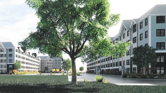 A rendering of the view from the west of the apartment complex for the proposed Shingle Mill Chapter 40B development.