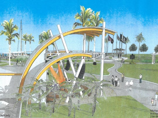 An artist's rendering of the band shell that a developer