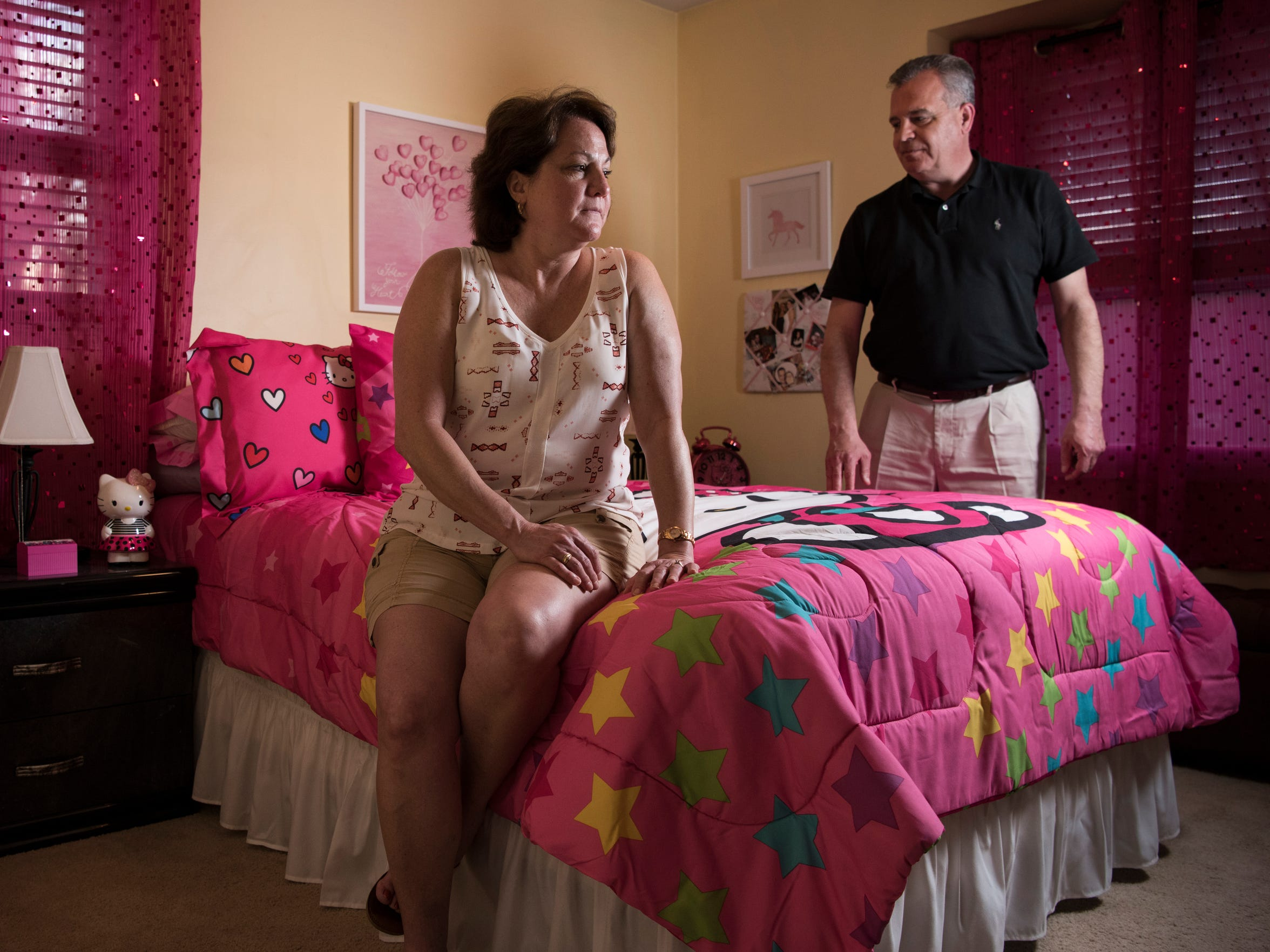 Jim and Stacey Rilee of Roxbury have decorated their late daughter's old room in pink, anticipating that her daughter, 8-year-old Annabelle, will come for a visit.