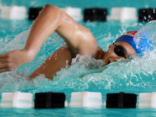 Bel Air's Armando Flores sprinted in the 200-yard freestyle competition Wednesday.