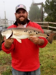 A beautifully-spotted redfish caught by C.J. Brown