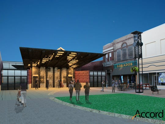A rendering of the entrance to the proposed arts pavilion, which is part of Mason City's Reinvestment District application.