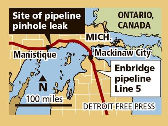 Site of leak on Enbridge pipeline