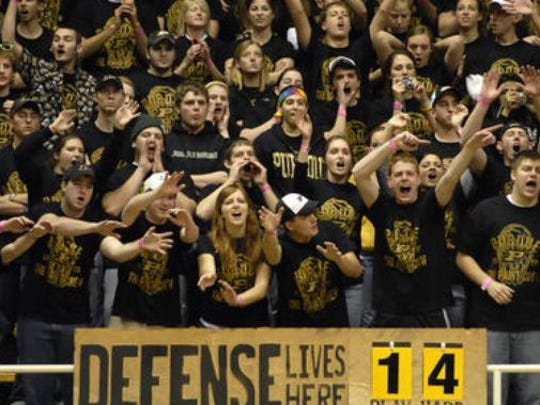 Purdue's Paint Crew student section, shown here in