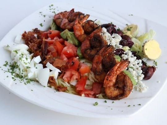 A Cobb salad with blackened shrimp at The Shrimp Box in Point Pleasant Beach.