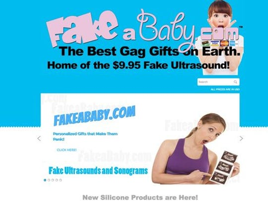 The website FakeABaby.com has fake pregnancy tests, sonograms and growing bellies.