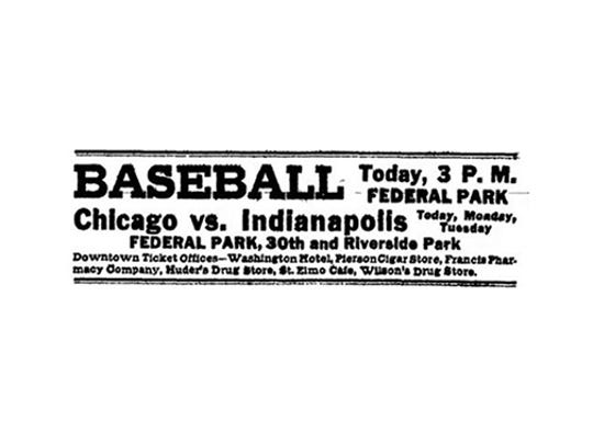 Ad for the Indianapolis Hoosiers baseball game at Federal Park from 1913.