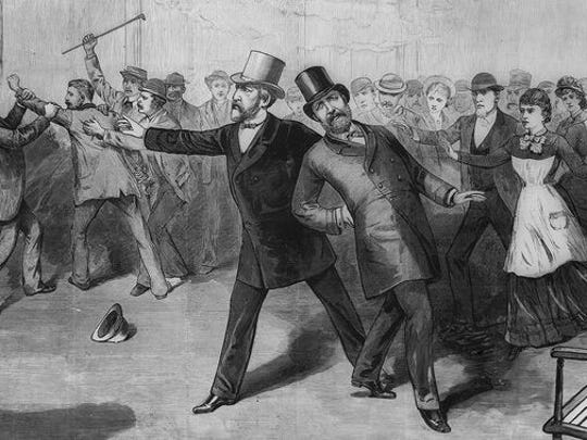 An illustration depicting the shooting of President James A. Garfield on July 2, 1881. He died in Long Branch on Sept. 19, 1881.