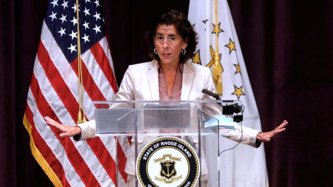 Gov. Gina Raimondo  gives a coronavirus update at Veterans Memorial Auditorium Wednesday afternoon.