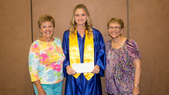 Sandy Walter (left), education chairperson of the Millville Woman's Club, and Barbara Westog (right), chairperson of the club's Literature Department, present Brooke Muhlbaier, a 2016 graduate of Millville Senior High School, with a $1,000 scholarship.