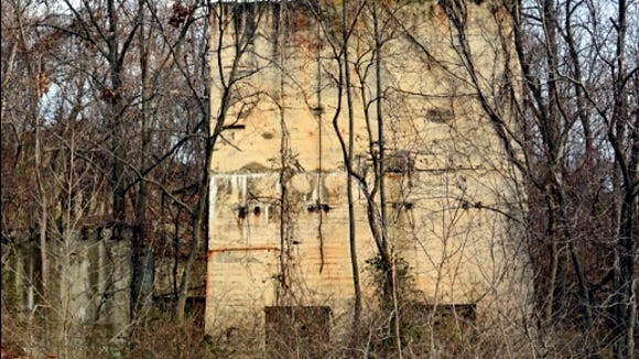 Massive ruins stand along the northern extension of the Heritage Rail Trail County Park within Springettsbury Township.