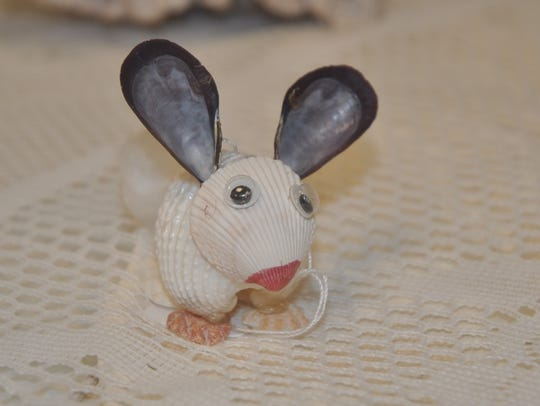 A bunny made from shells.
