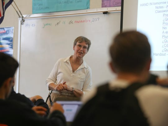 Central Valley substitute Spanish teacher Miriam Mustain teaches class Thursday at the school in Shasta Lake. Local schools are having problems filling open teaching positions especially in the summer.