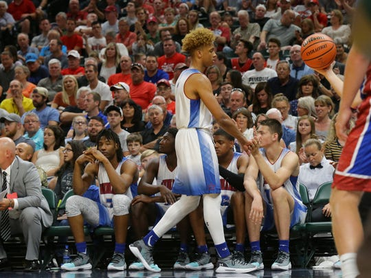Indiana All-Star player Romeo Langford (1) comes out of the game during the Indy Star Indiana High School All-Stars basketball game at Bankers Life Fieldhouse, Saturday, June 8, 2018.
