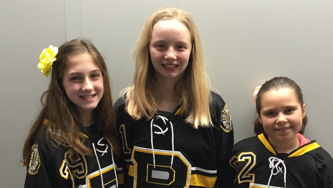 Breese Burlingame, center, with Ahneka Noyes, left, and Morgan Raymond were members of last year's state 12U Tier 1 champion Valley Bruins team. Burlingame  will play the Selects Invitational in Finland in March after a successful tryout in Buffalo on Jan. 2.
