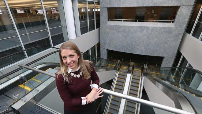 Meagan Kinsella, an actuary, at work at Excellus BlueCross BlueShield in Rochester.