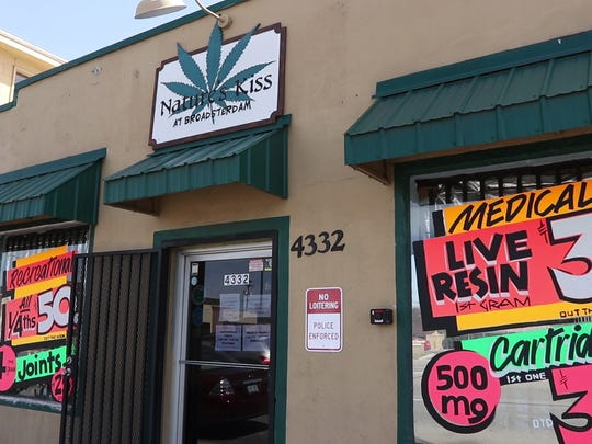 The town of Englewood, a suburb of Denver, has gone from banning the sale of marijuana to allowing it after citizens voted to allow it.  Nature's Kiss, a dispensary in Englewood. 