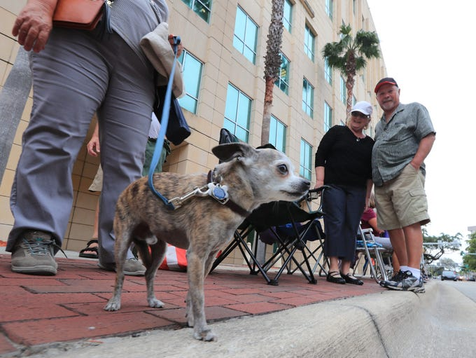 Downtown Fort Myers was busy with visitors preparing