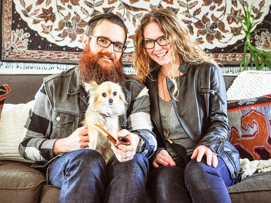 Erin Sparks with her husband, Zak, and their dog Fancy.