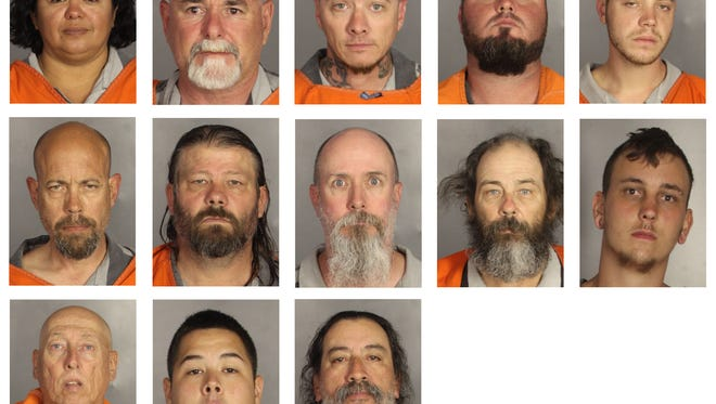 This combination of booking photos provided by the McLennan County Sheriff's office shows people arrested during the motorcycle gang related shooting at the Twin Peaks restaurant in Waco, Texas, Sunday, May 17, 2015. Top row from left to right: Ester Weaver, Walter Weaver, Mark White, John Wiley and Jacob Wilson. Second row from left to right: John Wilson, Gregory Wingo, Michael Woods, Ricky Wycough and Gage Yarborough. Third row from left to right: Lawrence Yager, Matthew Yocum and Gilbert Zamora. (McLennan County Sheriff's Office via AP)