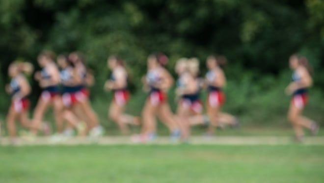Female cross country team runners