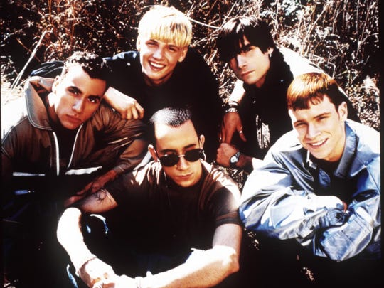 Backstreet Boys in 1997. Clockwise from left: Howie