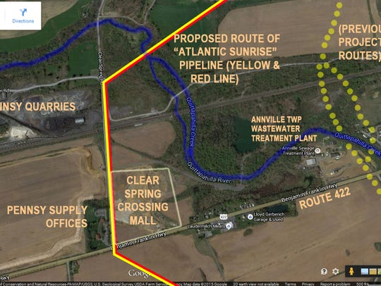 This map shows the currently proposed route of the