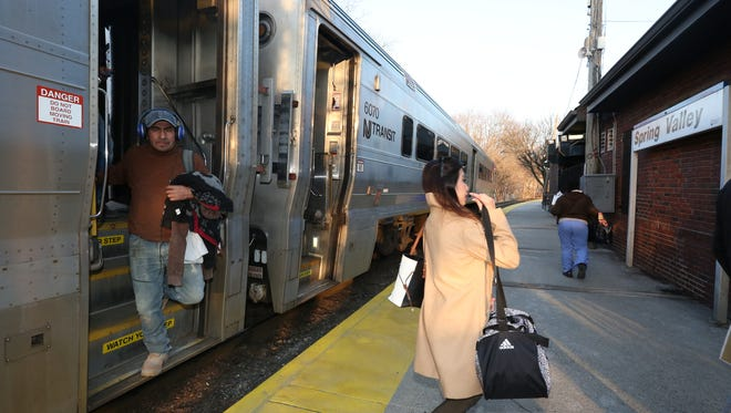 Commuters arrive at the Spring Valley train station March 7, 2016. A potential NJ Transit strike would cut off service to Rockland's five train stations, which are operated by NJ Transit under contract with Metro-North.