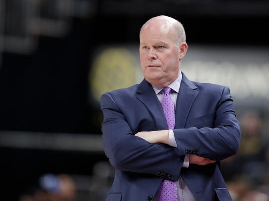 Charlotte Hornets coach Steve Clifford watches during the second half of the team's NBA basketball game against the Indiana Pacers, Tuesday, April 10, 2018, in Indianapolis. Charlotte won 119-93. (AP Photo/Darron Cummings)