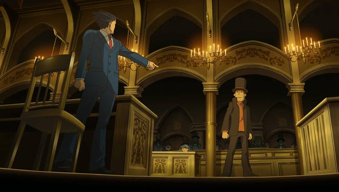 "Phoenix Wright and Hershel Layton cross paths in ""Professor Layton vs. Phoenix Wright: Ace Attorney"" for the Nintendo 3DS."