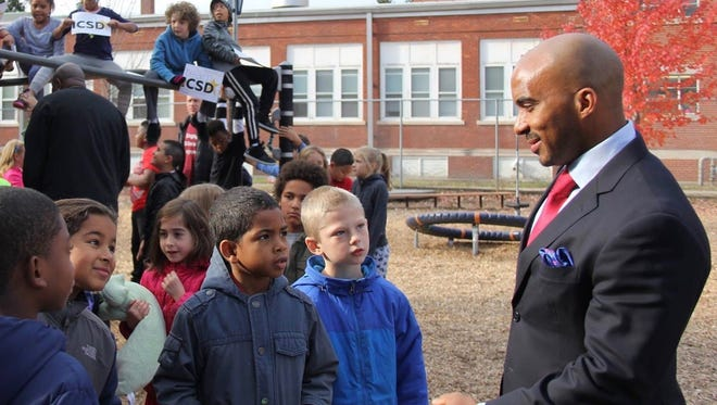 Ithaca City School District Superintendent Luvelle Brown speaks to students.