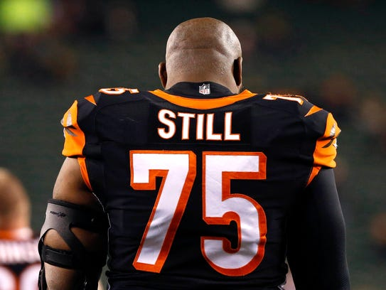 Bengals defensive tackle Devon Still prepares to play