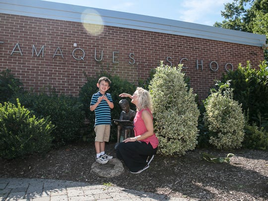 Greer Gurland of Westfield with her 6-year-old son Sammy, who has autism and will be entering the first grade at Tamaques Elementary School in Westfield this fall at the school on August 9, 2016.