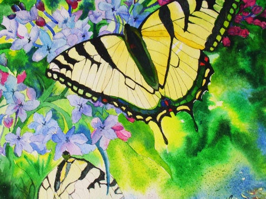"""Yellow Swallowtails"" by Lori Berquist is on display at St. Cloud Hospital."