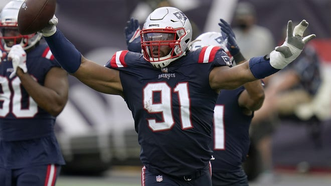 New England defensive lineman Deatrich Wise Jr. celebrates after he recovered a fumble for a touchdown in the second half of last Sunday's win over Las Vegas.