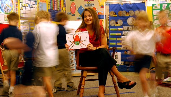 Student teacher tells a story to the Pre-K class about spiders.